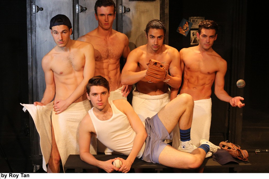 (from left) Douglas Fanning, Barnaby Hughes, Joel Burman, Kiel Payton, Alex Lodge (in front)DAMN YANKEES at Landor Theatre pls credit Roy Tan